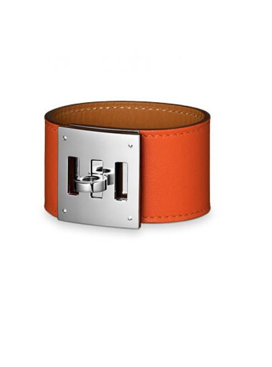 Hermes Orange Leather Kelly Dog Bracelet with White Gold Plated Clasp