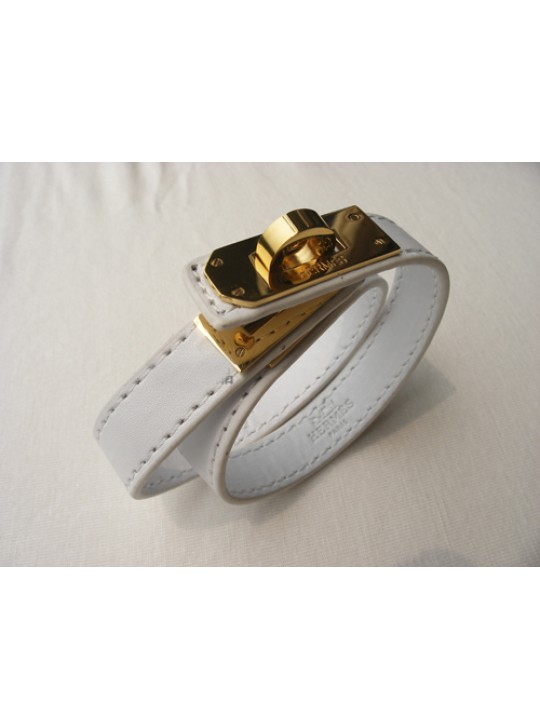 Hermes Kelly Double Tour White Leather Bracelet with Gold-Plated Clasp
