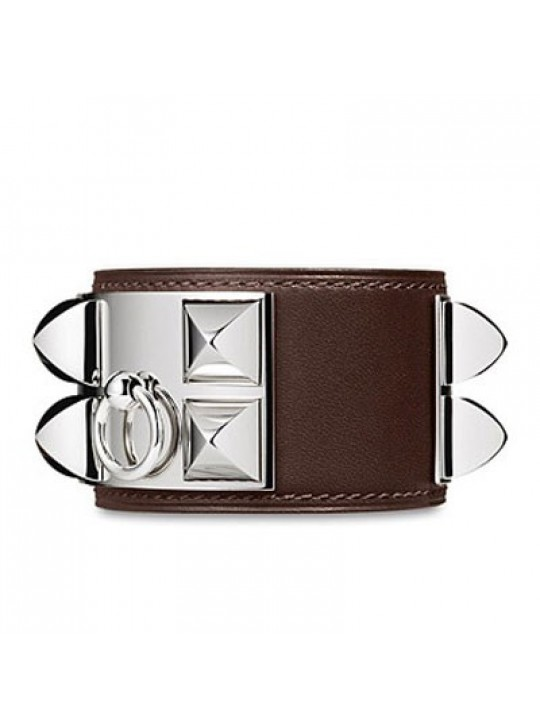 Hermes Coffee Leather Collier de Chien Bracelet with White Gold Plated Clasp & Hardware