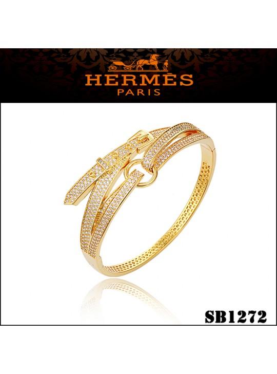 Hermes Debridee Bracelet in Yellow Gold with Diamonds