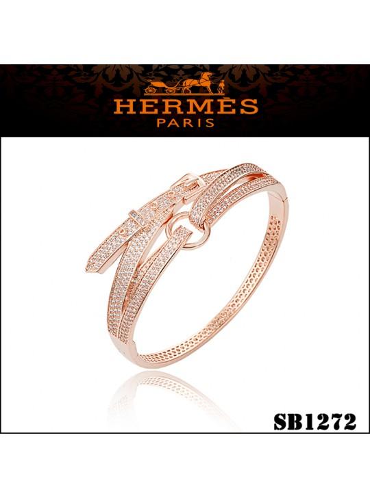 Hermes Debridee Bracelet in Pink Gold with Diamonds