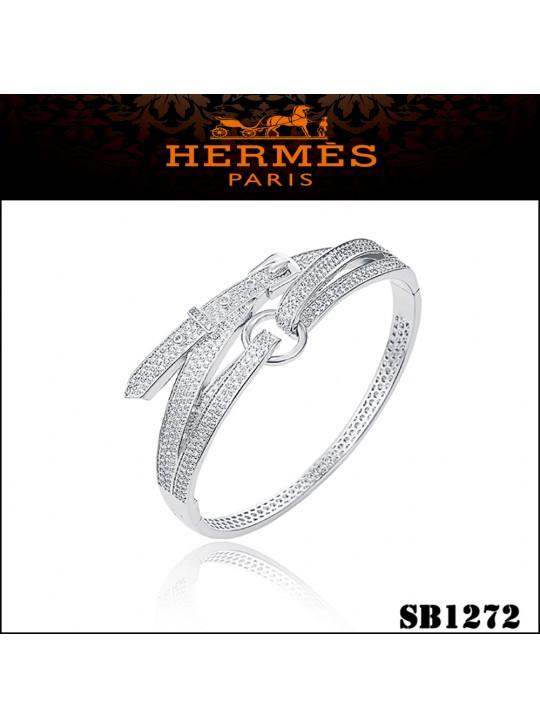 Hermes Debridee Bracelet in Silver with Diamonds