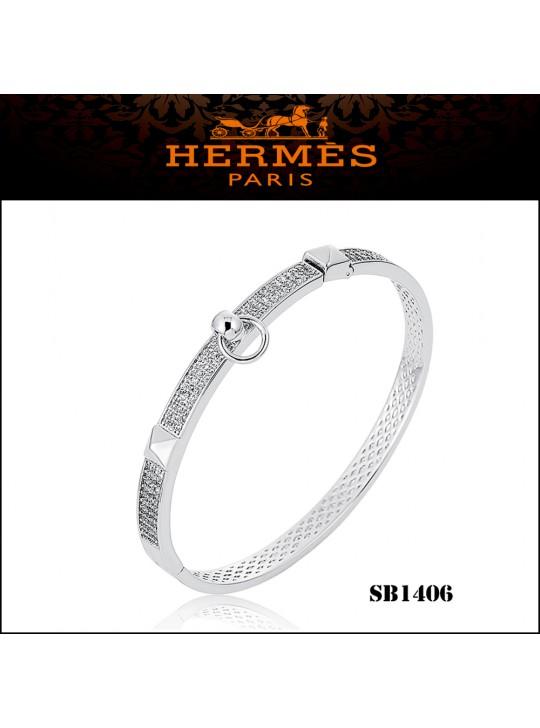 Hermes Collier de Chien PM Bracelet in Silver Set With Diamonds
