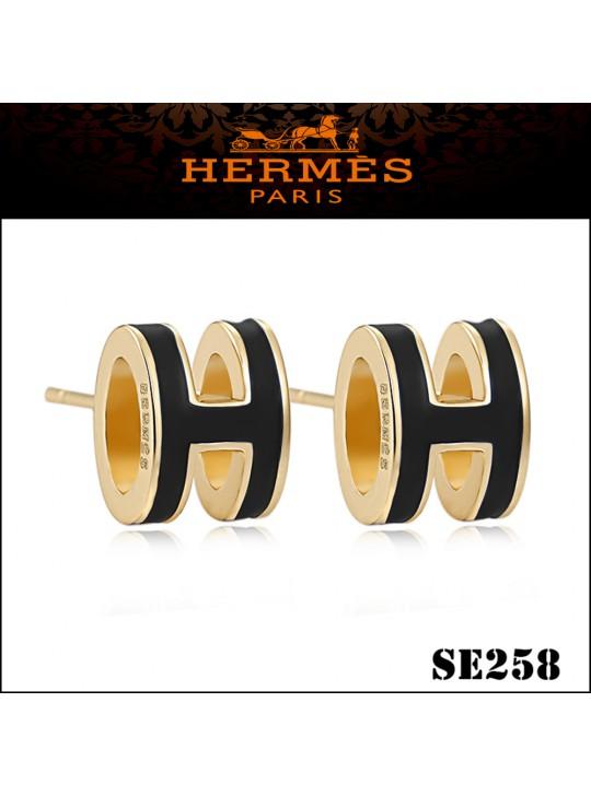Hermes Pop H Black Enamel Earrings in Yellow Gold