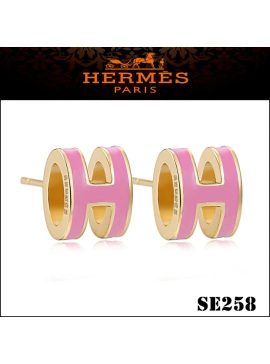 Hermes Pop H Pink Enamel Earrings in Yellow Gold