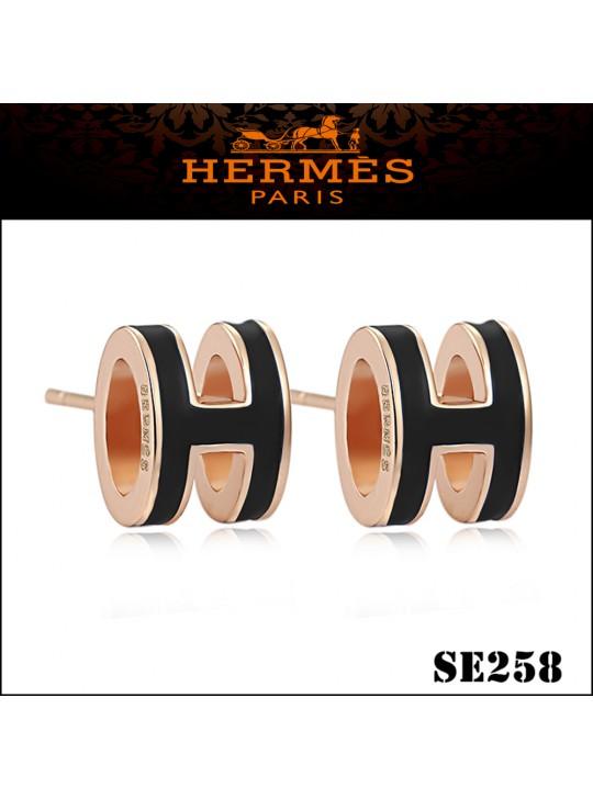 Hermes Pop H Black Enamel Earrings in Rose Gold