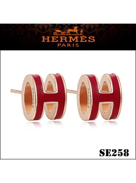 Hermes Pop H Red Enamel Earrings in Rose Gold