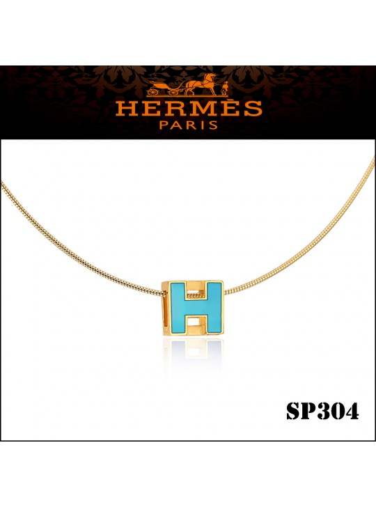 Hermes Cage d'H Paradise Blue Lacquer Pendant Yellow Gold
