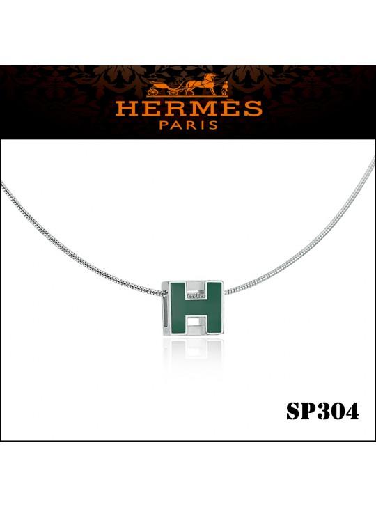 Hermes Cage d'H Green Lacquer Pendant Palladium