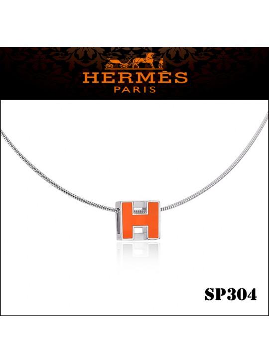 Hermes Cage d'H Orange Lacquer Pendant Palladium