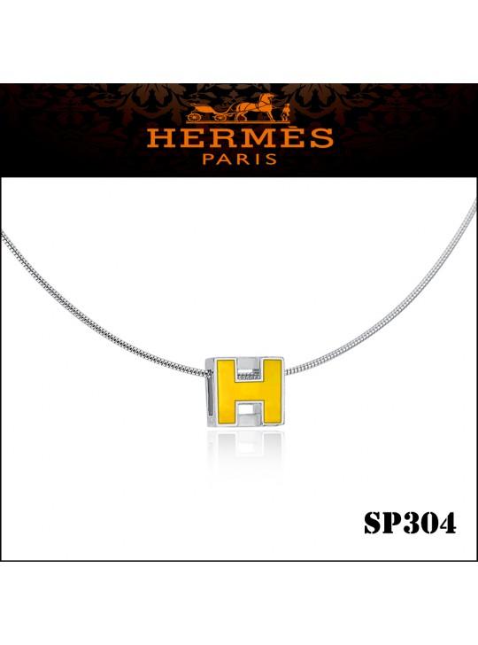 Hermes Cage d'H Yellow Lacquer Pendant Palladium