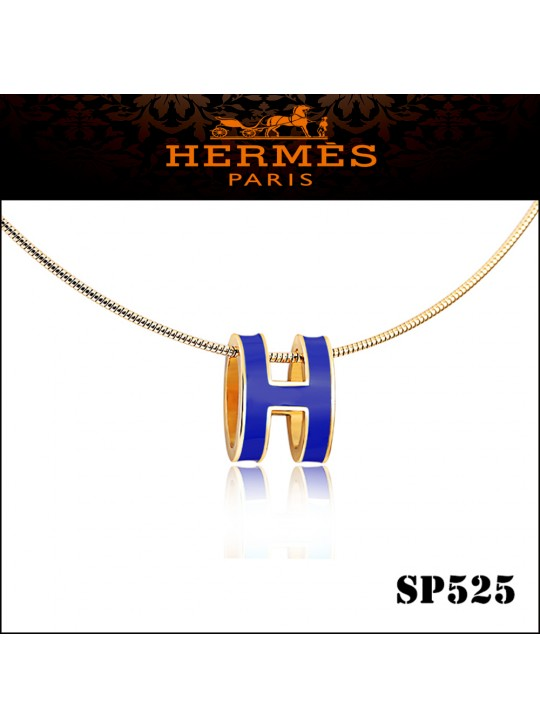 Hermes Pop H Narrow Pendant Necklace in Blue Enamel with Yellow Gold Plating
