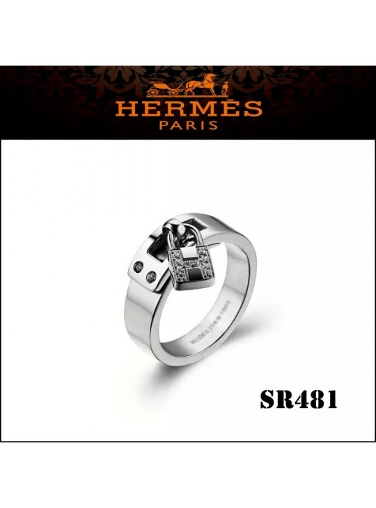 Hermes Kelly H Lock Cadena Charm Ring in Silver with Diamonds