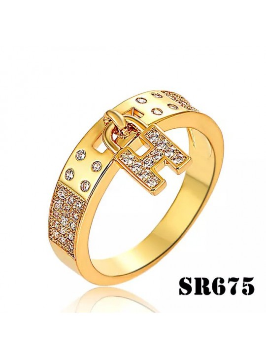 Hermes Clic H Yellow Gold Ring Paved Diamonds