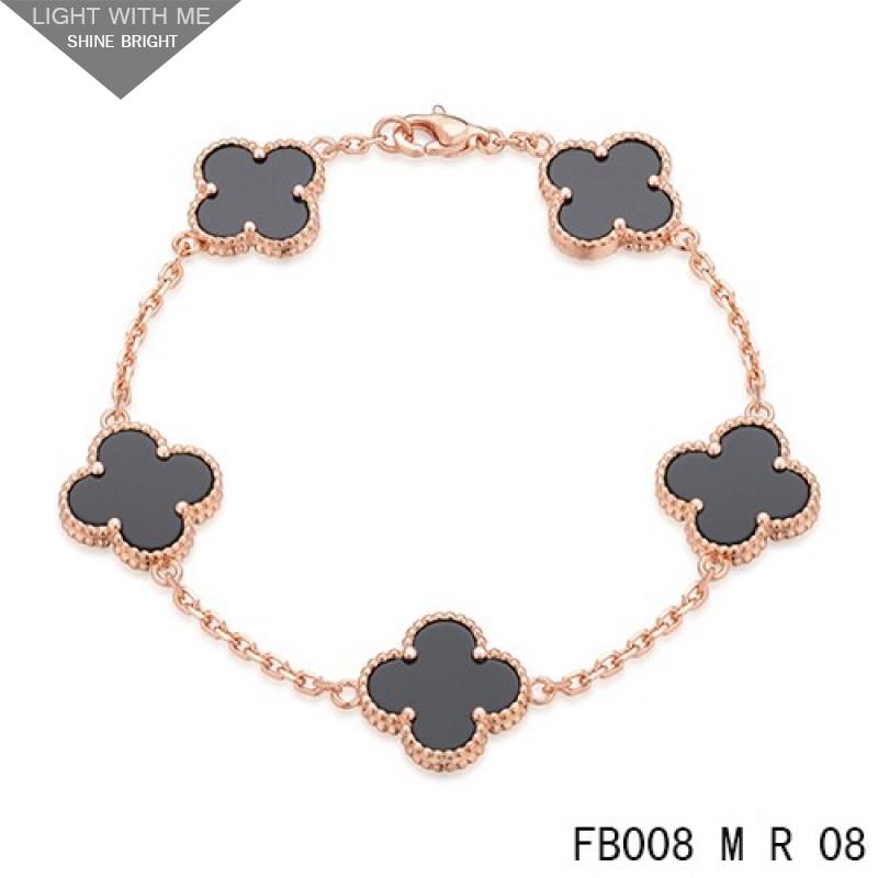 425c708e421730 Van Cleef Arpels Pink Gold Vintage Alhambra 5 Black Onyx Motifs Bracelet
