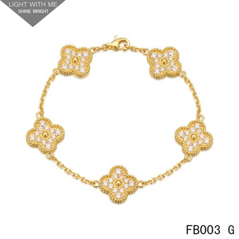 d83438b925027e Van Cleef & Arpels Vintage Alhambra Bracelet Yellow Gold with 5 Diamond  Motifs