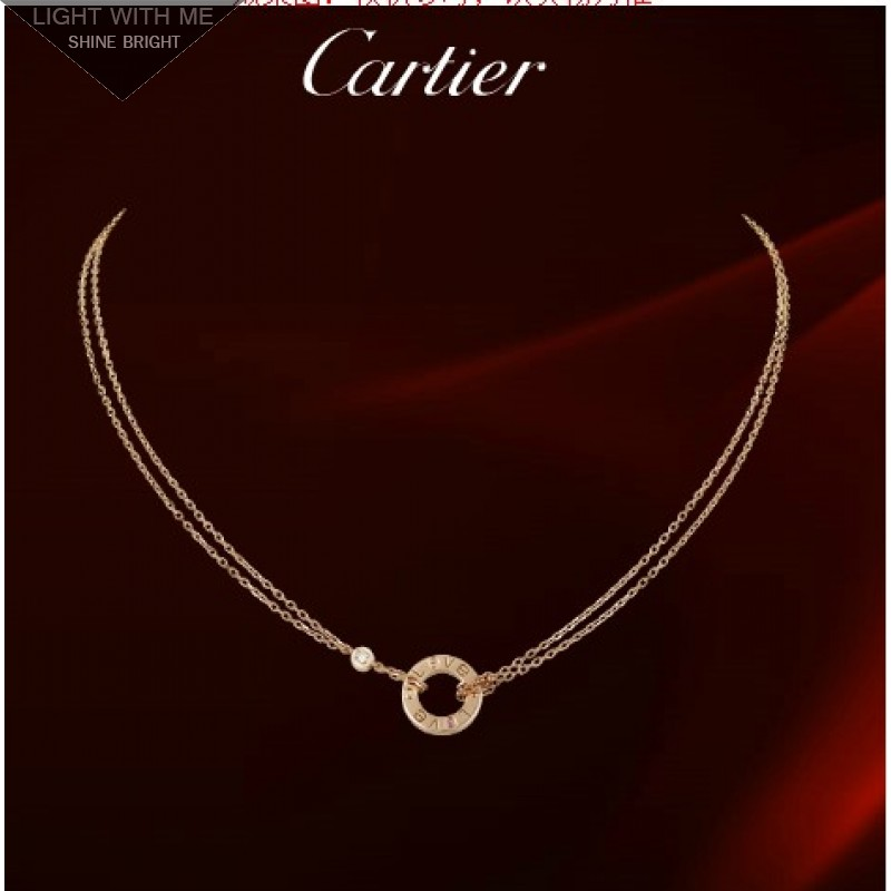 a2f4071934f0da Cartier LOVE Circle Necklace in 18K Pink Gold With Diamonds ...