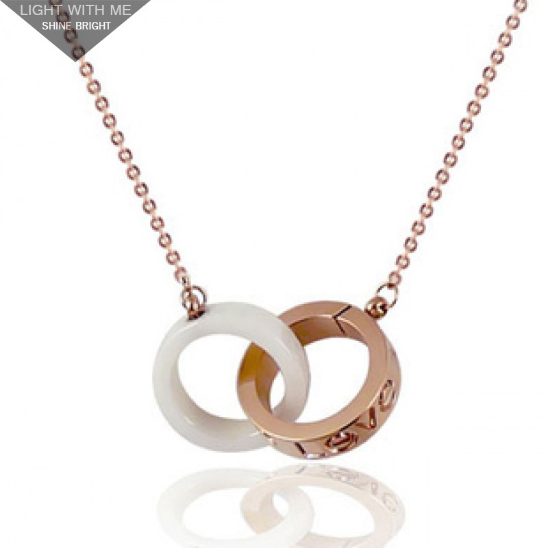 82477584d16d5 Cartier LOVE 2 Rings Charm Necklace in 18K Pink Gold & White Ceramic ...