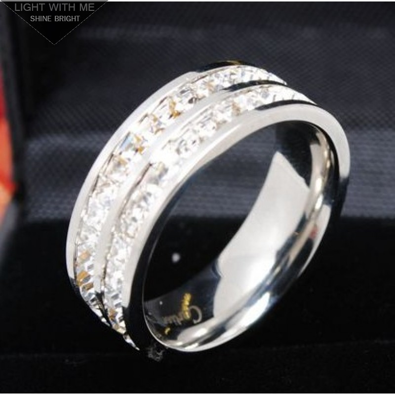 7d625ce92a Cartier 2 Row Wedding Band Ring in 18K White Gold Pave Diamonds