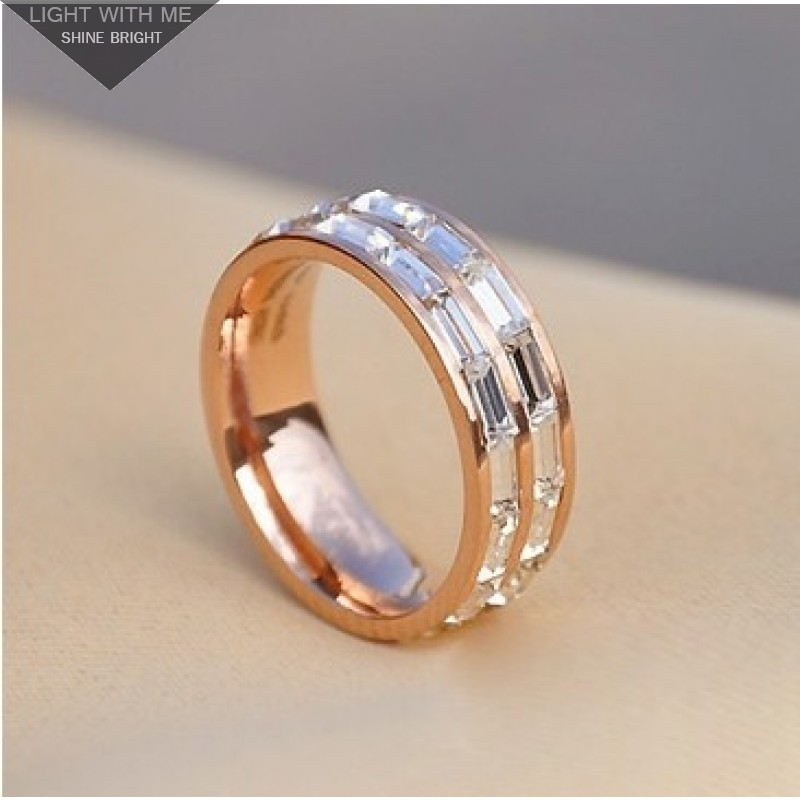 Cartier 2 Row Wedding Band Ring In 18kt Pink Gold With Baguette Cut Diamonds