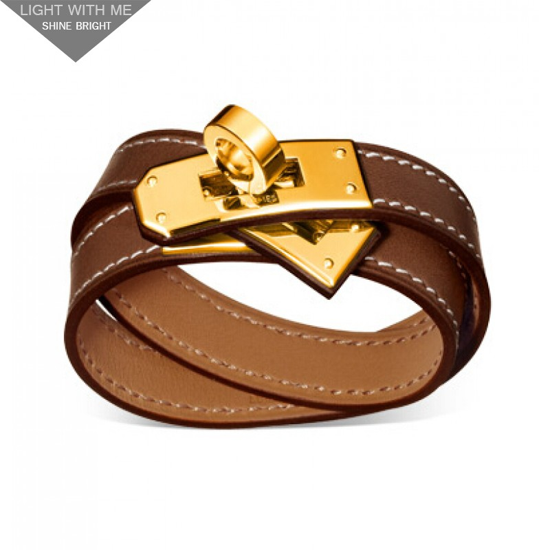 Hermes Kelly Double Tour Brown Leather Bracelet with Gold-Plated Clasp