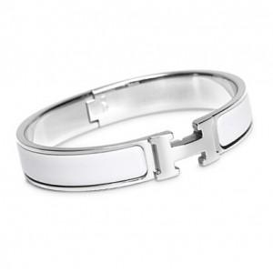 d489e17ea8d ... Hermes White Enamel Clic H Narrow Bracelet in White Gold