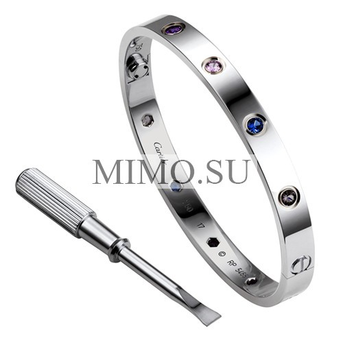 Cartier Love Bracelet Replica White Gold Plated Real Aquamarine Sapphire Spinel Amethyst Diamonds