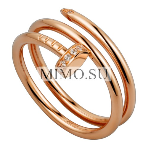 Cartier Juste Un Clou 2 Row Ring Fake Plated 18k Pink Gold Set With Diamonds B4210800