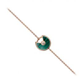 Copy Amulette de Cartier Bracelet Malachite 18K Pink Gold with 1 Diamond