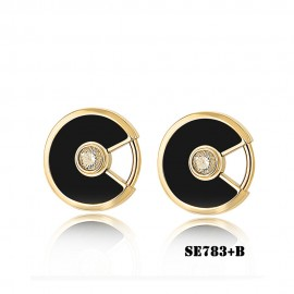 Amulette de Cartier Yellow Gold Earrings Fake Onyx with 2 Diamonds
