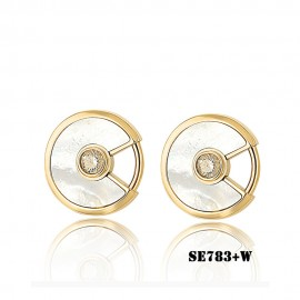 Amulette De Cartier Yellow Gold Earring Replica White Mother-Of-Pearl 2 Diamonds