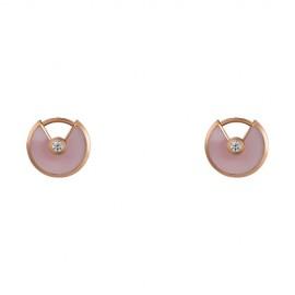 Amulette de Cartier Earrings Pink Gold Copy Pink Opal 2 Diamonds