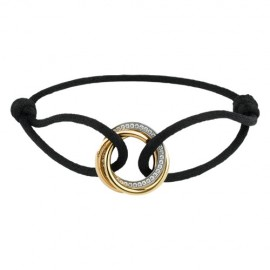 Trinity De Cartier Replica Bracelet 18K Gold Diamond Black Cotton Rope