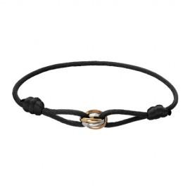 Trinity De Cartier Replica Bracelet 3-Gold Black Cotton Rope