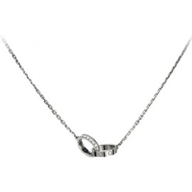 Cartier Love Necklace White Gold Copy A Ring Set with Diamonds