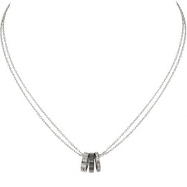 Cartier Love Necklace Copy White Gold Black Ceramic 18 Diamonds Pendant