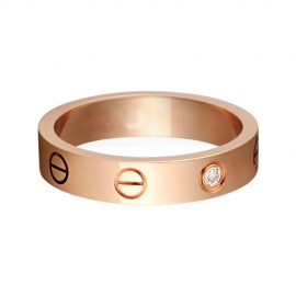 Cartier Love Wedding Band Fake 18K Pink Gold Love Ring with 1 Diamond