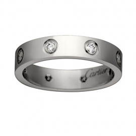 Cartier Love 18k White Gold Ring Fake 8 Diamonds