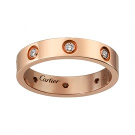 Cartier Love 18k Pink Gold Ring Replica 8 Diamonds