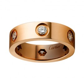 Cartier Love Ring Copy 18k Pink Gold with 6 Diamonds