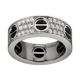 Cartier Love Ring Fake 18K White Gold Black Ceramic Paved Diamonds