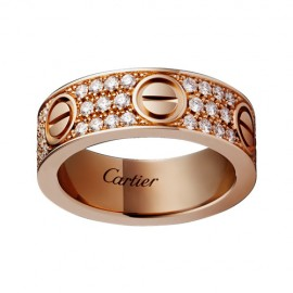 Cartier Love Ring Copy 18k Pink Gold Paved Diamonds