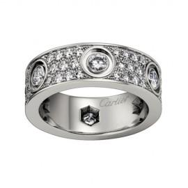 Cartier Love Ring Replica 18k White Gold Paved Diamonds