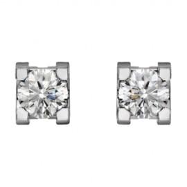 Diamond C de Cartier Earrings Replica 18K White Gold