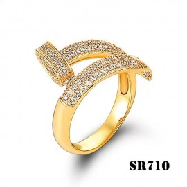 Cartier Juste Un Clou Ring Inspired 18k Yellow Gold Paved Diamonds