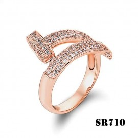 Cartier Juste Un Clou Ring Inspired 18k Pink Gold Paved Diamonds