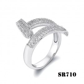 Cartier Juste Un Clou Ring Inspired 18k White Gold Paved Diamonds