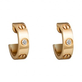 Cartier Love Earrings Replica Yellow Gold With 2 Diamonds
