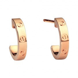 Cartier Love Earrings 18K Pink Gold Fake Screw Design