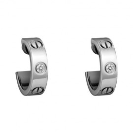 Cartier Love Earrings White Gold Fake With 2 Diamonds